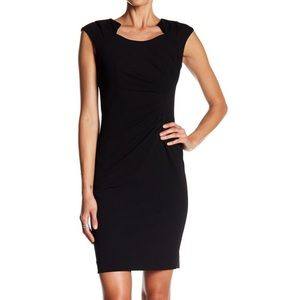 CALVIN KLEIN black ponte wiggle dress S 6 (E5)